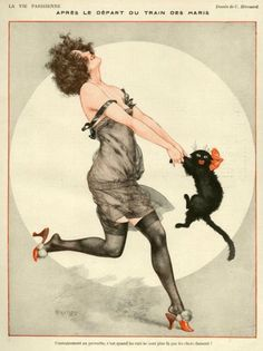 1923 La Vie Parisienne vintage illustration lady dancing with cat Crazy Cat Lady, Crazy Cats, Art Vintage, French Vintage, Vintage Clocks, Funny Vintage, Vintage Prints, Kunst Poster, Art Deco Posters