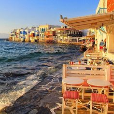 The charming & famous Little Venice , at Mykonos island (Μύκονος) ❤️. Very romantic atmosphere and at the same time elegant place with wonderful Bars - Restaurants in a row ! Definitely the most photographed tourist attraction on the island with perfect sunset time .