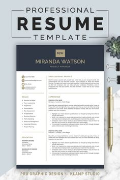 This resume template will help you get noticed! This template is also fully customizable, so you can easily modify it, you can change the fonts, colors, layout, add your own photo and even add and delete sections. The package includes a resume templates, cover letter example and a references template in an elegant, modern theme.#resume #ResumeTemplate #cv #cvTemplate #PrintableResume #template #wordResume #msWord #coverLetter #professionalResume Student Resume Template, Resume Design Template, Cv Template, Resume Templates, Cv Design, Graphic Design, Design Ideas, Resume Writing, Writing Tips