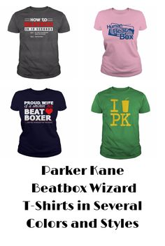 Parker Kane is a true beatbox  wizard and these Beatbox t-shirts are great for anyone who loves beatboxing. Beatbox tees come in a variety of colors and style for both men and women. Youth sizes also available in several of the styles. Great tee for PK fans as well as anyone that loves beat boxing.