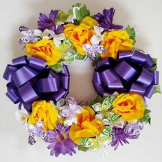 Butterfly Cemetery Wreath - Purple Grave Flowers, Memorial Flowers, Gerber Daisies, Green Butterfly, Yellow Roses, Cemetery, Daisy, Floral Wreath, Bouquet