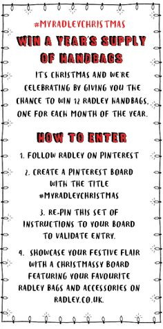 Want to WIN a year's supply of Radley handbags? Just follow these simple instructions for your chance to win! #MyRadleyChristmas My First Christmas, Plaid Christmas, Christmas Wishes, Christmas Ideas, Radley Handbags, Radley Bags, Beautiful Handbags, Beautiful Bags, Christmas Competitions