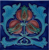 Art Nouveau-style tile, with dark blue surround, light blue stems, reddish pods.