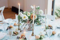 Floral Centerpiece, Brass Vintage Candles, Modern Vintage Wedding, Simple Wedding