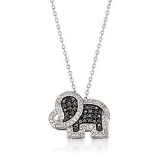 Ross-Simons - .45 ct. t.w. Black and White Diamond Elephant Pendant Necklace Sterling Silver. 18 - #771620