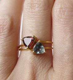 ON SALE Red Tourmaline Triangle Ring OOAK by friedasophie on Etsy