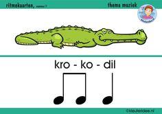 Ritmekaart voor kleuters 7 krokodil, thema muziek, kleuteridee.nl, free download