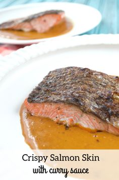 Crispy Salmon Skin with Curry Sauce. Simple and flavorful weeknight dinner! #paleo #whole30