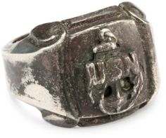 """Alberto Juan """"1940's and 1950's"""" Men's Sterling Antiqued Square US Navy Ring Alberto Juan. $48.39. Faced with an anchor and the """"usn"""" symbol; Made in United States; Designed after old settings and made to look like an original, this ring has been antiqued to give a worn look"""