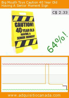 Big Mouth Toys Caution 40 Year Old Having A Senior Moment Sign (Toy). Drop 64%! Current price C$ 2.33, the previous price was C$ 6.43. https://www.adquisitiocanada.com/toy-zany/40-year-old-senior-moment