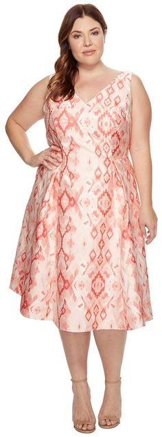 Adrianna Papell - Plus Size Aztec Essence Jacquard Tea Length Fit and Flare Women's Dress