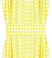 Yellow Gingham French Door Curtain Panels (available in many lengths)