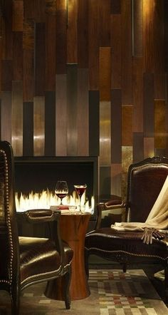 Viceroy Snowmass' Lounge with Varied Hues of Wood Paneling Interior Architecture, Interior And Exterior, Interior Design, Casa Hotel, Hotel Lobby, Grand Hotel, Accent Wall Designs, Cigar Room, Fireplace Design