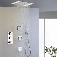 Douche Modern LED Thermostatisch Regendouche Zijspray Inclusief handdouche Messing (Chroom)