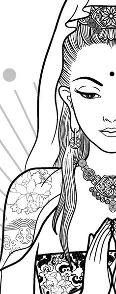 """Quan Yin"" T-Shirts & Hoodies by Vivian Lau Line Drawing, Drawing Sketches, Drawings, Green Tara, Guanyin, Woman Drawing, Divine Feminine, Woman Painting, Chinese Art"