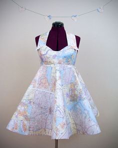dress made out of maps. adorable. via wear the canvas.