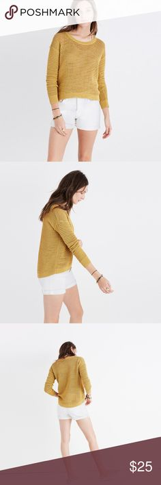 Madewell Northshore Pullover XS Beautiful goldenrod color! Size XS. Open knit.  A perfect summer sweater in an airy open stitch (hello, built-in ventilation). Layer it over a tank or bralette for an effortless look.  True to size. Cotton. Madewell Sweaters