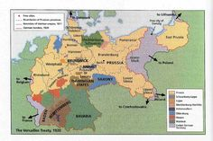 Germany after Treaty of Versailles 1920 - map Ww1 History, European History, World History, Family History, Treaty Of Versailles, Germany And Prussia, Old Maps, Historical Maps, Paralegal
