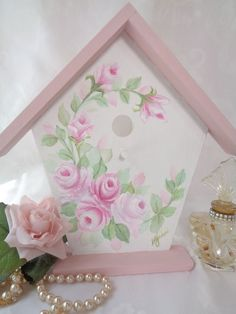 ROMANTIC BIRD HOUSE DECOR hp roses chic shabby vintage cottage hand painted pink…