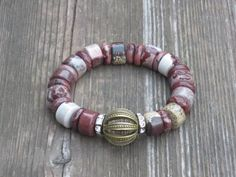 Boho Hippie Mixed Jasper Bead with Crystal by ChiTownUrbanDesigns, $40.00
