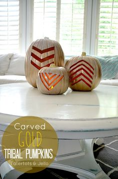 Make gold pumpkins for fall! Carvable pumpkins you can use year after year.