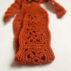 Crochet Headband, Boho Knit Hairband in Rusty Orange, Rust Red Wool