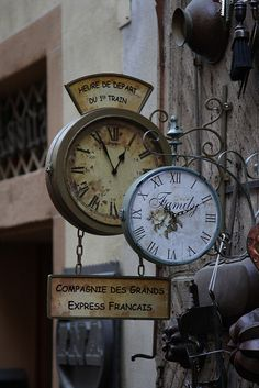 Old clocks seen in San Quirico d'Orcia in Tuscany.
