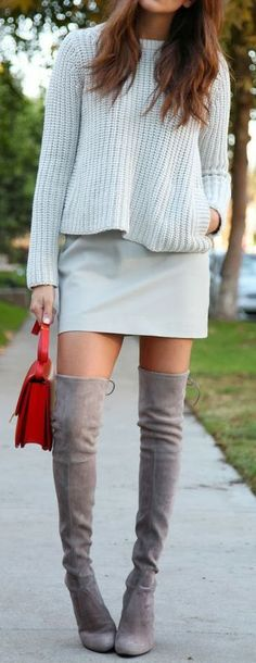 love the boots and neutral tones on top