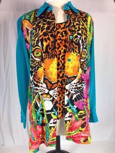 Diane Gilman S Silk Sequin Blouse Animal Print w/ Tank #DianeGilman #ButtonDownShirt #Casual
