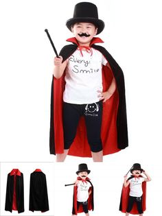 [Visit to Buy] Red Black Hood Girl Boy Death Cloak Magician Witch Wizard Cloak Cape Robe Fantasia Infantil Halloween Costume for Children Kids #Advertisement