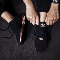 """""""#Restock Adidas Women's ZX Flux - Core Black/Copper ($90) Available now online and in-store at both locations. #AdidasOriginals #ZXFlux #AdidasFlux"""""""