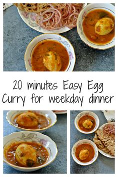A very easy, ready in 20 minutes Egg Curry recipe for weekday dinners. Steam some rice on the side & you can have a healthy dinner in under 30 minutes. via @monikamanchanda