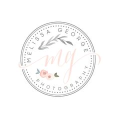 Premade Handpainted watercolor flower Logo   by TheAutumnRabbit
