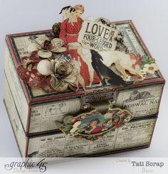 So gorgeous! Tati Scrap's Raining Cats & Dogs Music Box #Graphic45