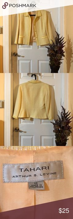 TAHARI Pastel Yellow Blazer TAHARI Pastel Yellow Blazer, Nearly New, Without Tags, Dry Clean Only Tahari Jackets & Coats Blazers