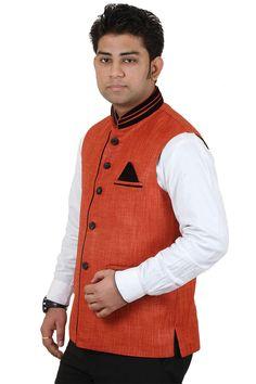 Modi Jacket, Jute Fabric, Rust Color, Jackets Online, Party Wear, Menswear, Vest, Cotton, How To Wear