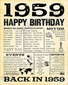 1959 Fun Facts 60th Birthday For Husband Gift Dad Father Parents 60 Years Ago Him Back In DIGITAL FILE ONLY