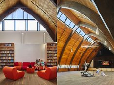 Adaptive-reuse addition transforming a church to century school that keeps sustainability and energy efficiency up and center. Adaptive Reuse, Primary Education, School Architecture, Sprinkler, Vaulting, Architects, Barrel, Spaces, Building