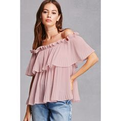 Forever21 Haute Rogue Flounce Top ($45) ❤ liked on Polyvore featuring tops, pink, off-the-shoulder ruffle tops, pink off shoulder top, flutter sleeve top, off shoulder tops and pink top
