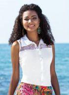 Camisa Feminina Branca Detalhe Renda Fabricada em helanca que está em alta. Peça bonita e estilosa. Apresenta modelo sem mangas e com detalhe em renda.   https://modacor.wordpress.com/2015/11/16/camisa-feminina-branca-detalhe-renda/