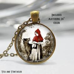 Little Red Riding Hood Necklace, Fairy Tales, Once Upon A Time, Fables Pendant, chain included X182
