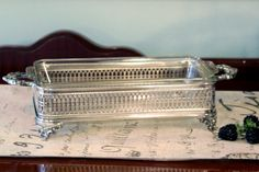 Silver Plate Loaf Pan Stand - Pyrex Glass Baking Dish - Two Piece Buffet Stand Set - Serving Set