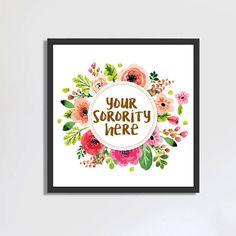 Custom Sorority Art, Sorority Print, Instant Download, wall art, greek life, big little reveal, big little week, watercolor art, dorm art