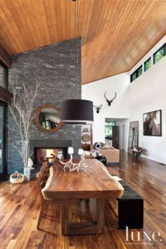 Contemporary Wood and Stone Dining Area