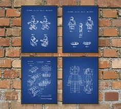 Lego Patent Wall Art Poster Set by QuantumPrints on Etsy - four different background color options
