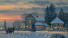Free Art Wallpaper: Warm Christmas Eve Housescreen Wallpaper