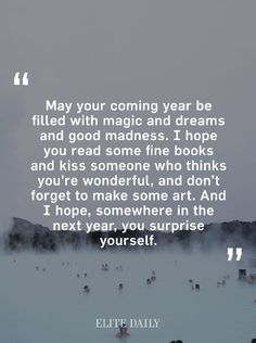 I hope you surprise yourself this year.