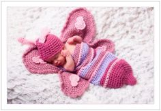Crochet Butterly Hat and Cocoon Set Photo Prop or Gift