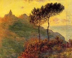 Claude Oscar Monet:The Church At Varengeville  Against The Sunset