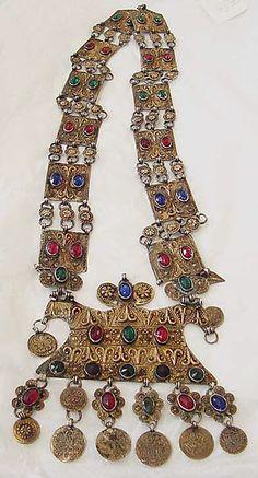Necklace Date: late 19th century Culture: Turkmen Medium: metal, stones Dimensions: Length: 19 1/2 x 5 in. (49.5 cm)